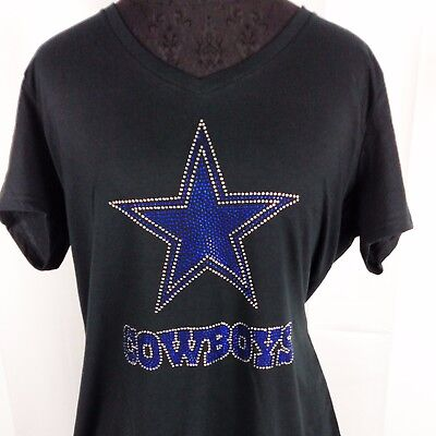 Women's Dallas Cowboys Rhinestone Football V-neck T-Shirt Tee Bling Ladies