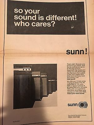 Vintage 1969 Sunn Tube Amps Guitar Advertisement Pinup Poster Musical Equipment