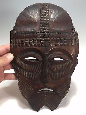 Very Early Antique African Solid Shoulder Bone Hand Carved Mask Super Rare