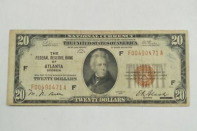 Series 1929 $20 National Currency From Fed. Res. Bank of Atlanta Georgia *Q99