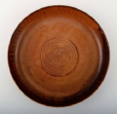 Saxbo, large ceramic dish, beautiful brown glaze. Yin yang stamp