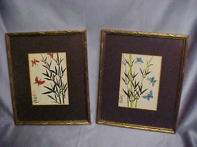 Pair Asian Brush Painting of Butterflies wibamboo stalks framed mat w glass VGC