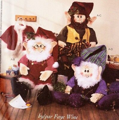Uncut Mccalls Crafts Christmas Sewing Pattern 3837 Santa And Elf