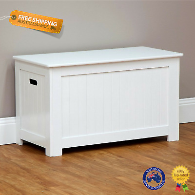 White Nursery Storage Bench Kid Toy Box Linen Chest Lift Up Lid Bedroom Bathroom