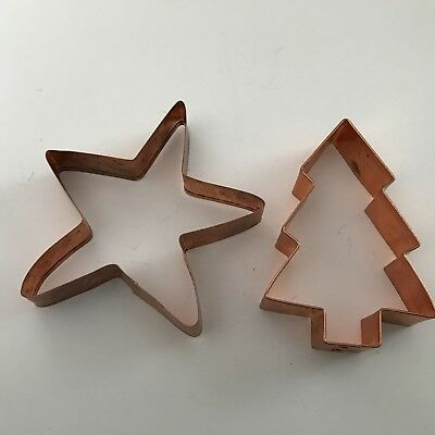 2 Vintage Heavy Copper Large Cookie Cutter - Christmas Tree & Star Collector