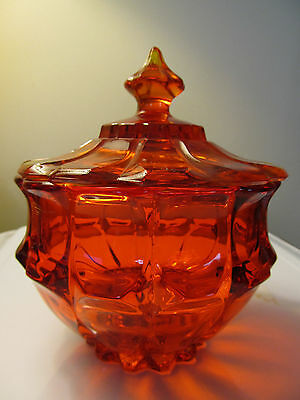 Red/orange Glass Candy Dish With Lid