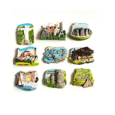 3D Resin Fridge Magnet Paris Denmark Brazil Tour Contry Travel Tourist Souvenir