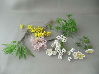 Antique Vtg Lot French Hand Made Beaded Glass Seed Bead Miniature Flower Leaves