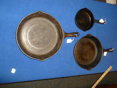 antique vintage cast iron cookware set of 3 / wards - griswold- wagner- all rare
