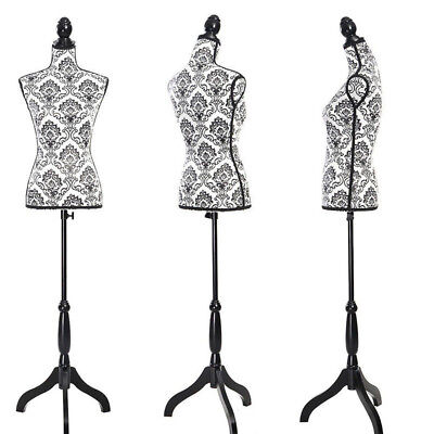 Female Mannequin Torso Dress Form Display W/ Tripod Stand Black Decorative Foam