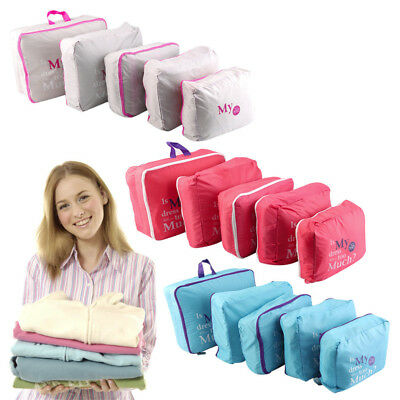 5PCS Waterproof Travel Clothes Storage Bags Luggage Organizer Pouch Packing Cube