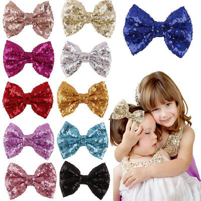 Lovely Infant Baby Girl Sequin Bowknot Barrette Hair Clips Bow Hairpin Xmas Gift