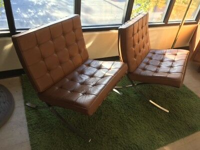 """Pair of AUTHENTIC Ludwig Mies van der Rohe """"Barcelona"""" chairs by Knoll Int'l."""