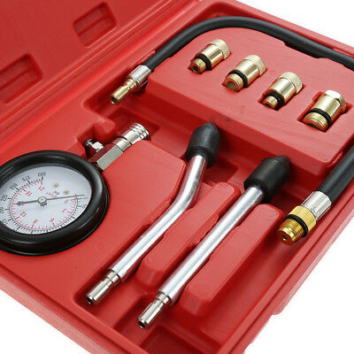 Car Motorcycle Engine Cylinder Compression Tester Pressure Gauge Meter Tool Set
