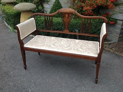 Vintage Edwardian Small Wooden Inlaid Sofa Love Seat Chair Bedroom Furniture