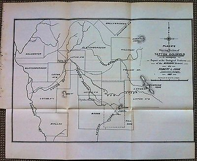 Original Map Yatton Gold Field Near Mackay Queensland 1887 Robert Logan Jack