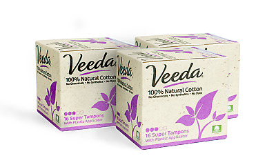 Veeda Natural All-Cotton Tampons, Super, Compact Applicator, 48 Count