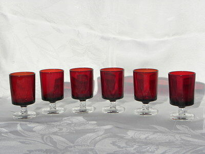 6 Vintage Ruby Red Glass Arcoroc France Footed Shot Glasses or Cordials