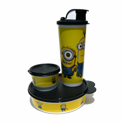 Tupperware NEW Minions Lunch Set Big Wonder Bowl Tumbler Snack Cup Black Yellow