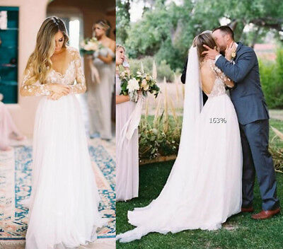 VINTAGE LACE COUNTRY Wedding Dress White Ivory Long Sleeve Open Back ...
