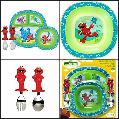 Sesame Street Dining Set Plastic Divided Plates For Toddlers Bowl Spoon Bpa Free