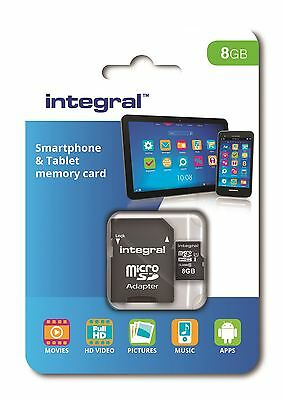 Integral 8GB Class 10 UHS-I U1 microSDHC Memory Card for SmartPhones & Tablets