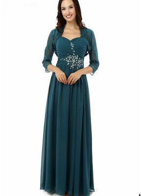 REAL IMAGE LONG Teal Mother of the Bride Dress Plus Size ...