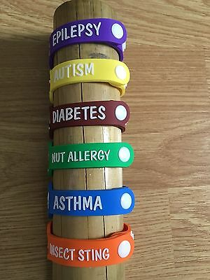 Diabetes - Child Kid Allergy Health alert ID wristband bracelet Safety Emergency
