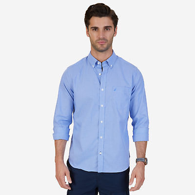 Nautica Mens Classic Fit Wrinkle Resistant Micro Check Shirt
