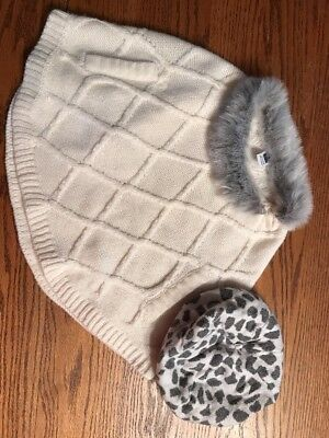 Janie And Jack Toddler Girls Size 18-24 Months  Off White Faux Fur Cape, Hat