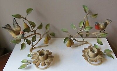 Pair Antique 1940s TOLE Painted CANDLE HOLDERS Sconces ITALY Partridge PEAR TREE
