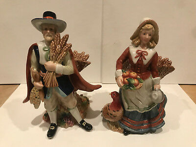 "Fitz and Floyd Harvest Heritage 12"" TALL  PILGRIM  COUPLE"