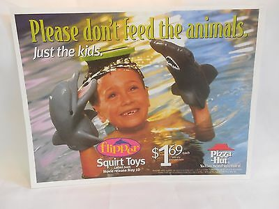 Pizza Hut Flipper Please Don't Feed Animals Dolphin Squirt Toy Placemat NEW 1996