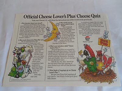 Pizza Hut Placemat Official Cheese Lovers Quiz Unused 1989