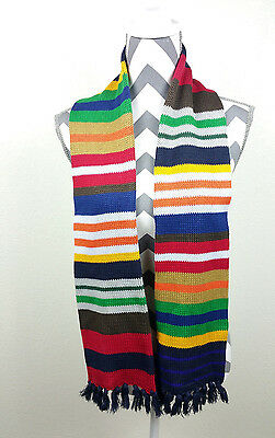 Gap Kids Navy Blue Green Red Yellow Brown Colorful Stripes Knit Scarf OS  [P]