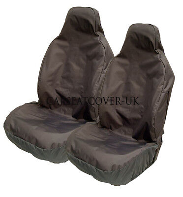 AUDI A2 - Heavy Duty Black Waterproof Car Seat Covers - 2 x Fronts