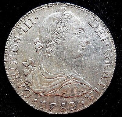 =WOW= 1782 CAROLUS III 8 Reales, Mo FF, SILVER, XF, Colonial Coin,Spanish Mexico