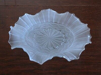 Deco Fluted Edge Smokey Glass Shallow Bowl - Beautiful