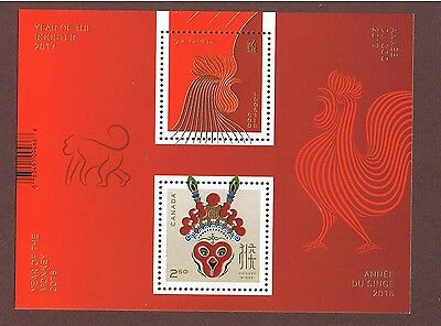 Canada Chinese Lunar New Year Of The Monkey & Rooster Transition Stamp Sheet