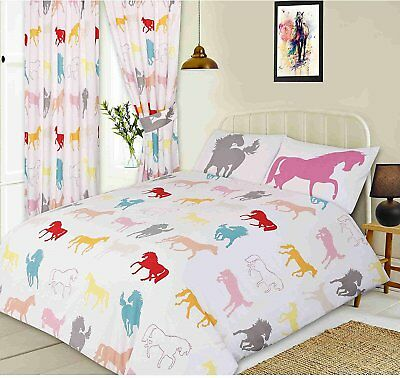 Single Bed Duvet Cover Set Horses Pony Pink Red White Grey Teal Yellow Peach