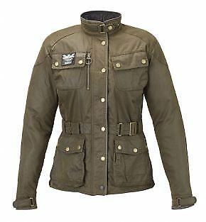 Triumph Barbour Ladies Green Wax Cotton Motorcycle Jacket *55% Off!*now £135.00