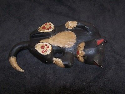 Sleeping Black Cat Wood Sculpture