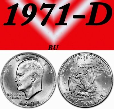 1971-D Eisenhower Bright Clear  Uncirculated Dollar.===Bu===C/n==
