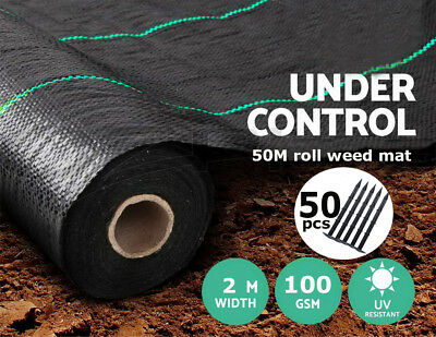 FREE 50 PEGS + 2m x 50m 100g Weed Control Ground Cover Membrane Landscape Fabric
