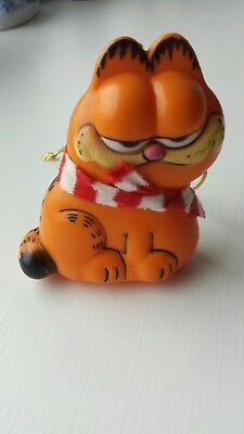 Vintage 1981 Garfield the Cat w/ Red & White Scarf Christmas Ornament by Enesco