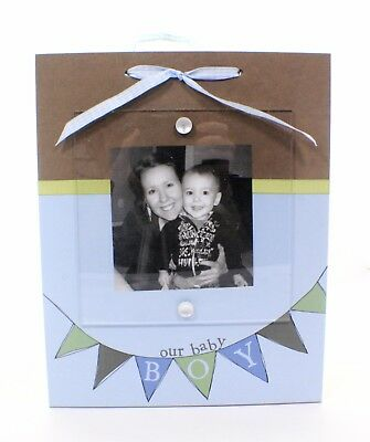 Our Baby Boy Ribbon Picture Frame, Baby Boy Photo Frame, Baby Shower Gift