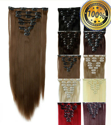 170G THICK Clip In 100% Real Human Hair Extensions Full Head UK STOCK