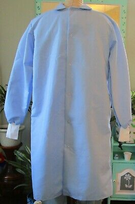 "Best Medical Unisex L/S Lab Coat Snaps Side Vents knit cuff 42"" Length Sz Small"