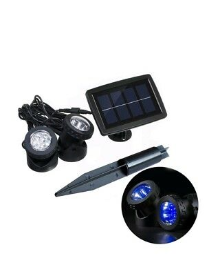 Blue Solar Pool Lights Outdoor LED Underwater Spotlight with Flash Mode