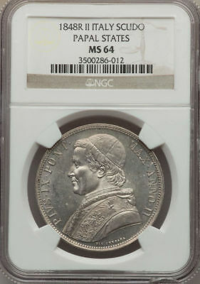 Italy Papal States 1848  1 Scudo Silver Coin Uncirculated, Certified Ngc Ms 64